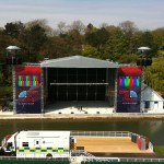 Scarborough Outdoor Stage system build showing Pitch Roof system, cow sheds and elevated PA