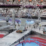 London 2012 Olympics Closing ceremony St Pauls model under construction at the venue