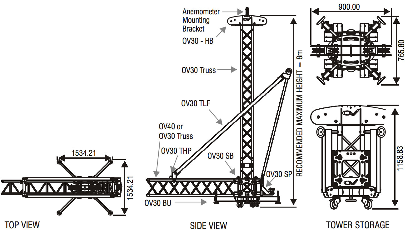 with its ability to pack into an easy and compact unit this is the tower touring with light to medium weight truss systems